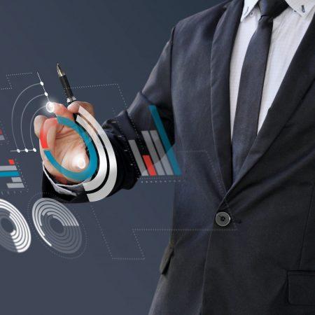 Businessman analytics 3d information financial on digital screen